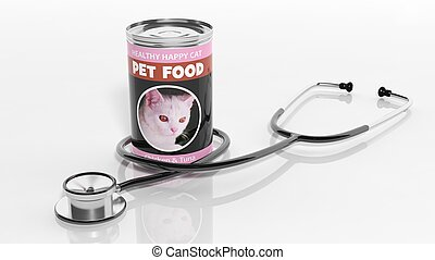3D rendering of, cat canned food and a stethoscope, isolated on white background