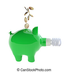 3d rendering of ceramic piggy bank with efficient light bulb, for ecology, energy concepts