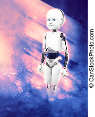 3D rendering of child robot with space background.