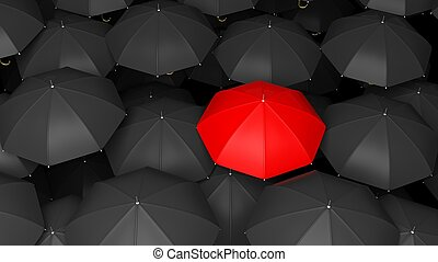 3D rendering of classic large black umbrellas tops with one red standing out.