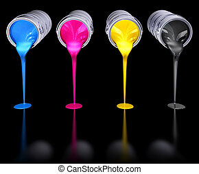 cmyk colors - 3d rendering of cmyk colors on a black ...