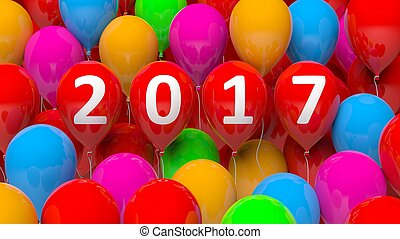 3D rendering of colorful balloons with 2017 new year