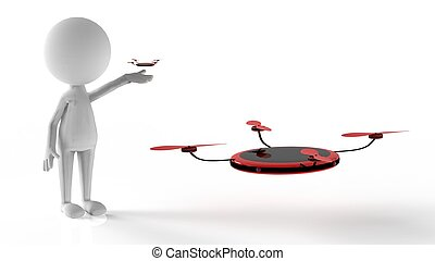 3d rendering of colorful drone with 4 camera around it