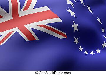 3d rendering of Cook Islands flag waving