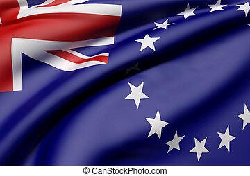 Cook Islands flag waving