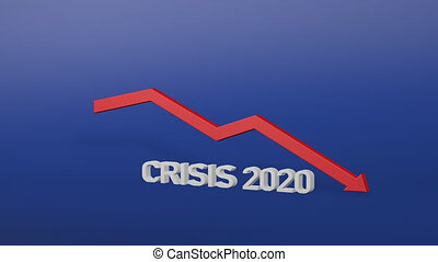3d rendering of crisis 2020 concept with decreasing red arrow. Global financial crash. Covid-19