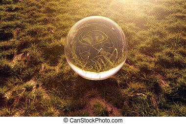 3d rendering of crystal ball on green grass in the morning sunshine light