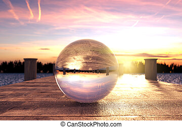 3d rendering of crystal ball on wooden bridge in the morning light