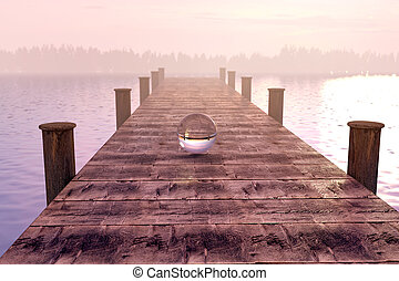 3d rendering of crystal ball on wooden bridge in the morning fog