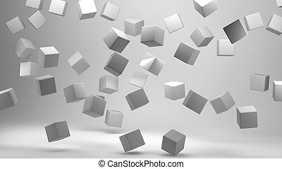 3D Rendering of Cubes on white