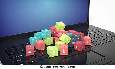3D rendering of cubes with domain names on black laptop's keyboard