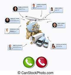 3D rendering of different business contacts making a conference call in an international distribution context