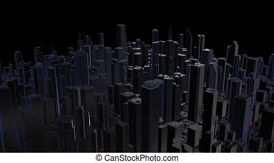 3d rendering of digital city. Abstract urban background. Skyscrapers town. Night city of skyscrapers