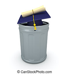 3D Rendering of diploma and graduation hat in a garbage can