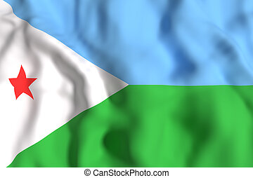 Djibouti flag waving
