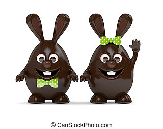 3d rendering of Easter chocolate bunny eggs