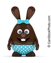 3d rendering of Easter chocolate bunny
