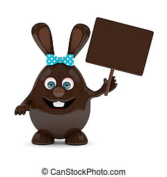 3d rendering of Easter chocolate bunny with board