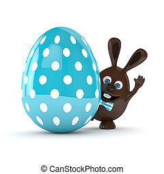 3d rendering of Easter chocolate bunny with egg