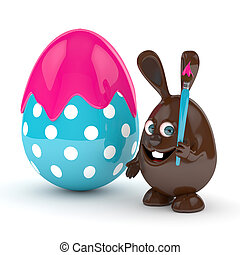 3d rendering of Easter chocolate bunny with eggs
