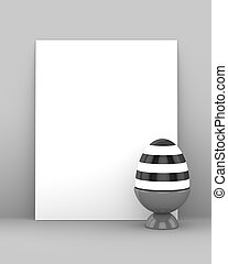 3d rendering of Easter egg with blank card
