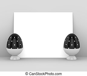 3d rendering of Easter eggs with blank card