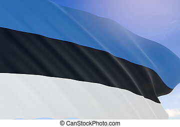 3D rendering of Estonia flag waving on blue sky background