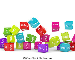 3D rendering of falling cubes with discount sign