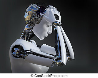 3D rendering of female robot crying nr 2. - 3D rendering of...