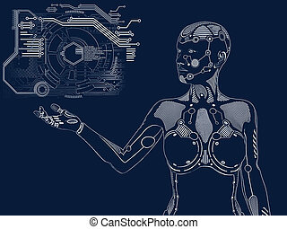 3D rendering of female robot digital concept.