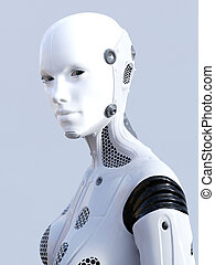 3D rendering of female robot face.
