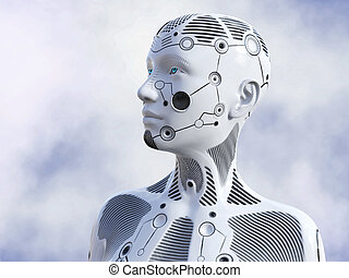 3D rendering of female robot head.
