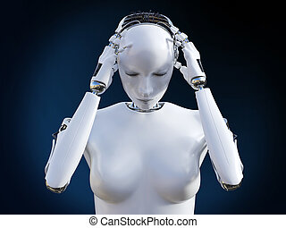 3D rendering of female robot with headache.