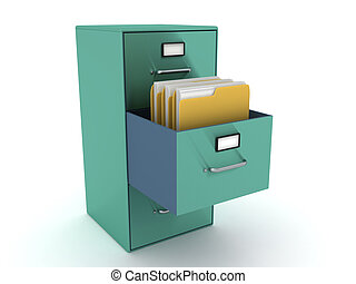 3D Rendering of file cabinet with folders in it