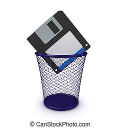 3D Rendering of floppy disk thrown in the garbage