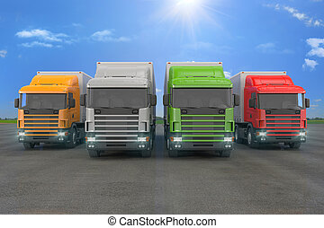 four colorful cargo trucks parked in a row