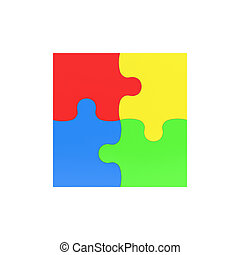 3d rendering of four multicolored puzzle pieces interconnected on white background.