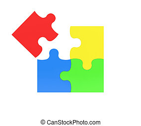 3d rendering of four multicolored puzzle pieces isolated on white background.