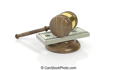 3D rendering of gavel on100 Dollars banknote pack, isolated on white background.