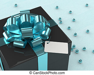 3d rendering of  gift box with blue ribbon