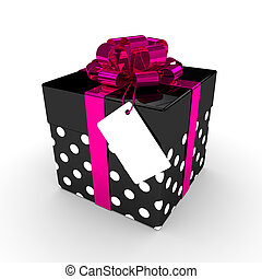 3d rendering of gift box with label isolated over white