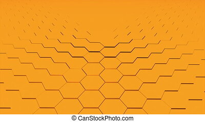 3d rendering of gold hexagonal background. Computer generated abstract design.