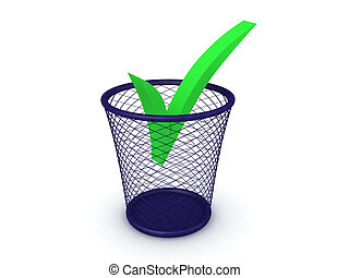 3D Rendering of green checkmark in the trash can