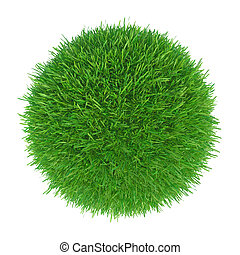 3d rendering of green grass ball on white