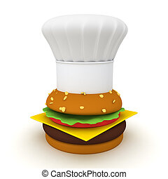 3D Rendering of hamburger with chef hat on top