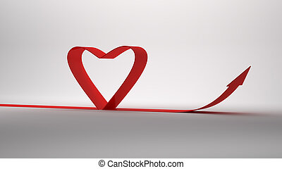 3D Rendering of Heart paper on white background