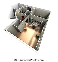 3D rendering of home interior focused on living room