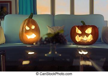 3d rendering of horrified pumpkins sitting on the sofa in modern living room