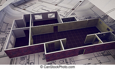 House is building on blueprints.