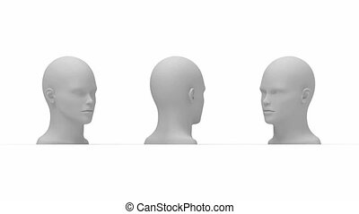 3D rendering of human head turning multiple views side front...